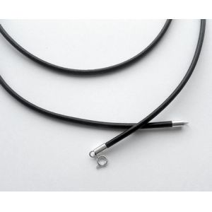 Rzemyk gruby - srebrne końcówki, 50cm czarny