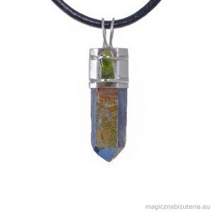 Kryształ Tytanowy z Oliwinem, wisior
