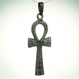 Krzyż Ankh z hieroglifami, brąz